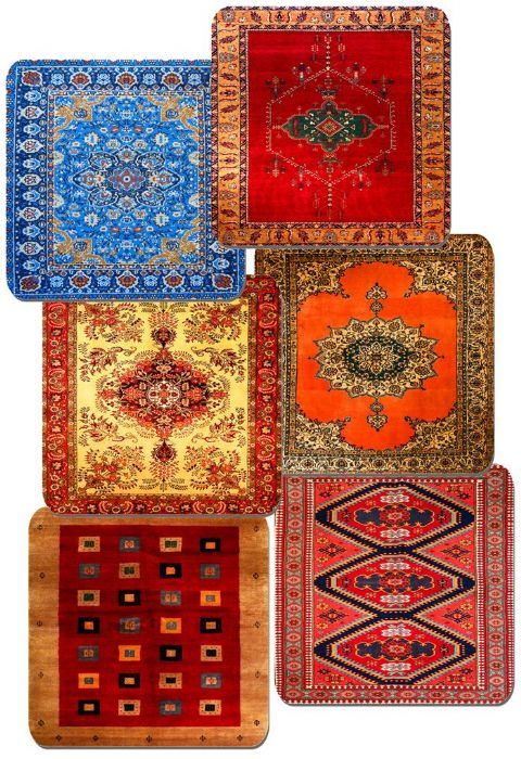 Persian Rug Design Print Drinks Coasters Set Of 6. Vintage Carpet Quality Print
